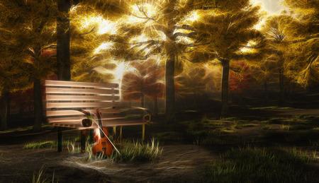 Quiet Serenade. Autumnal forest with violin