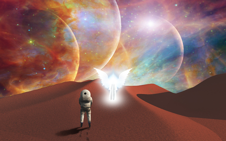 Space journey. Astronaut meets the angel on mystic red planet
