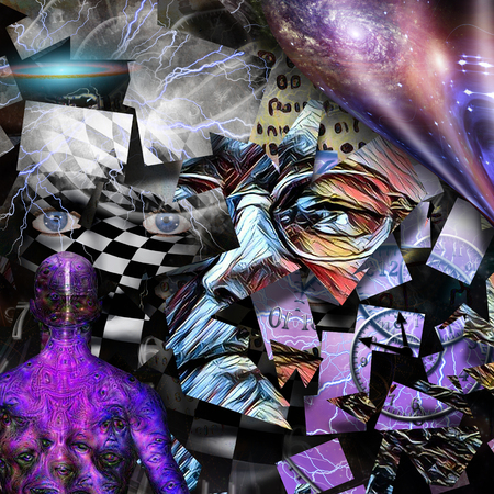 Surreal composition. Piece of mind. Fragments of human faces, warped space and time spirals