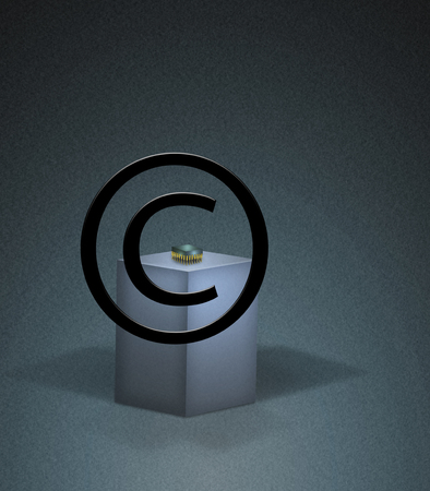 Copyright sign. Microchip. 3D rendering