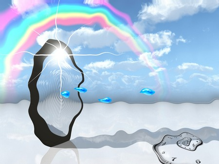 Surrealism. Water drops comes through sky portal. Spiral of time and rainbow in the cloudy sky. Reklamní fotografie