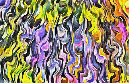 Abstract painting. Fluid colorful lines. 3D rendering