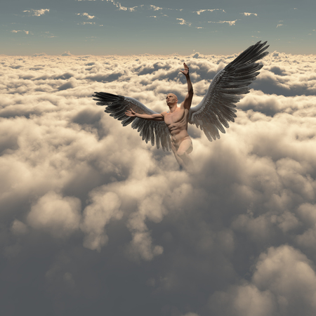 Surrealism. Man with angel's wings flies in cloudy sky