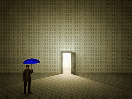 Surreal painting. Man with umbrella stands before door in wall with binary code. 免版税图像