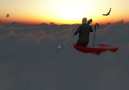Surrealism. Man in a suit with paddle floats in red umbrella on clouds. Eagle flies in the sky. Banque d'images