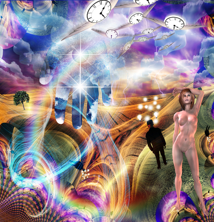Multiple elements combine in surreal illustration. Eye of God. Winged clocks represents flow of time. Man with ideas