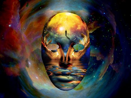 Masque à l'image de l'homme, mains d'une prière et bord de mer. Univers coloré sur fond.