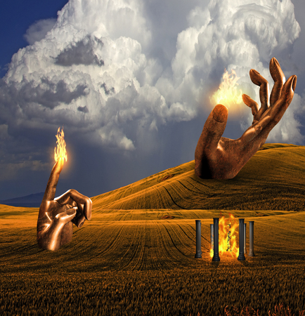 Surreal Landscape with giant sculptures and temple of fire