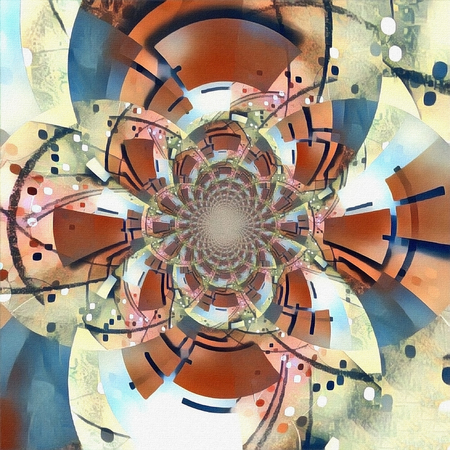 Abstract circles. Fractal with geometric figures. Kaleidoscope illusion 写真素材