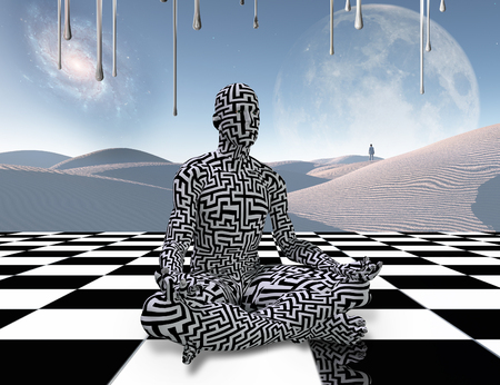 Surrealism. Man with maze pattern sits in lotus pose on a chess board. Meditation on a chessboard. Lonely traveler in the white sands dune. 3D rendering Banque d'images