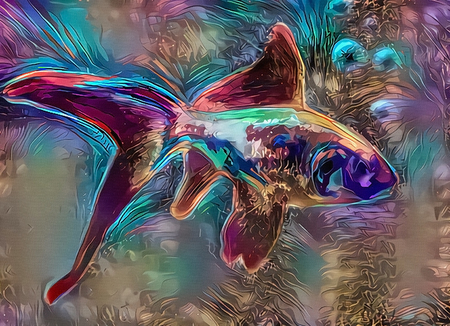 Abstract painting. Colorful hallucinogenic fish