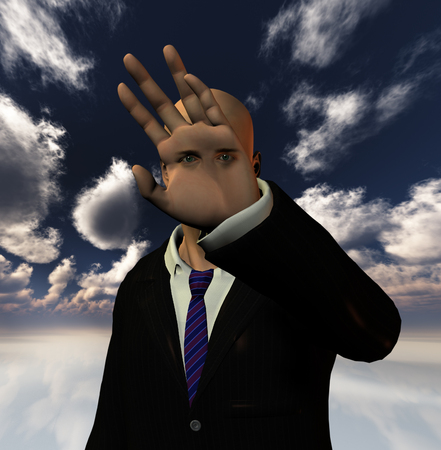 Surreal man with eyes on a hand palm Standard-Bild