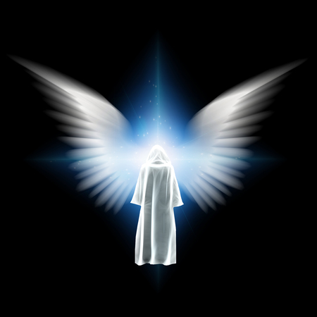 Surreal digital art. Figure in white cloak stands before bright light with angel wings.