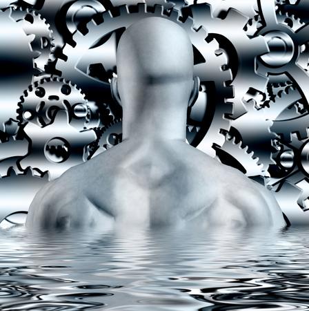 Industrial composition. Man before cogwheel gears Standard-Bild