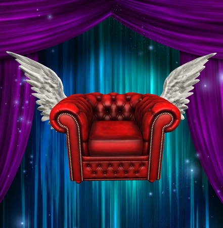 Winged comfort chair. Colorful stage curtains