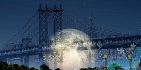 Surreal digital art. Manhattan bridge on New Yorks cityscape. Giant moon, pieces of graffiti.