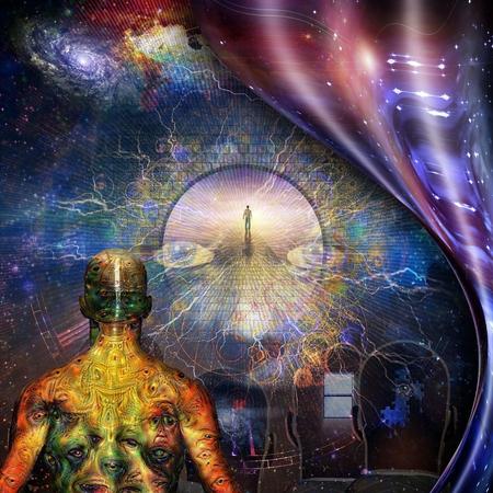 Surréalisme. Différentes pensées dans la tête des hommes. Homme avec des yeux démoniaques étranges sur la peau. Figure de l'homme sur la route du paradis. Espace déformé.