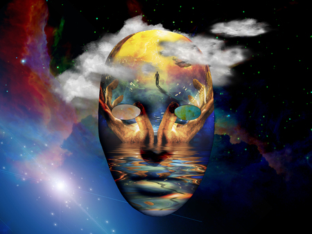 Mask with surreal painting in the space