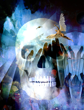 Surreal compositon.Winged Angel and Death Skull. 3D rendering Banque d'images - 114423127