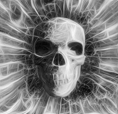 Human Skull Design in Black and White Colors Banco de Imagens