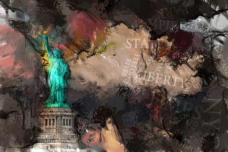 Abstract painting. Liberty statue. 3D rendering 스톡 콘텐츠
