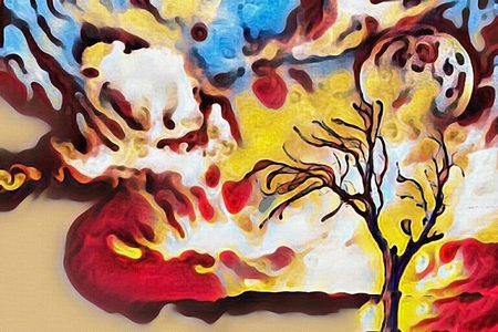 Abstract painting. Lonely tree, full moon in cloudy sky. Watercolor.