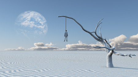 Surreal white desert. Man in white suit is hanged on a dry tree. 写真素材