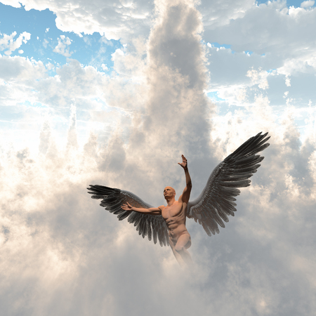 Surrealism. Man with angel wings flies in cloudy sky Banque d'images - 114922924