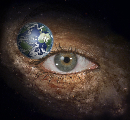 Eye in midst of Galaxy with Earth 写真素材