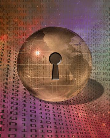 Earth Binary Code and Key. Internet