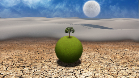 Grassy globe with tree in desert. Giant moon in the sky