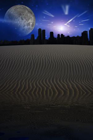 Desert city sillouettes with large clock shape and moon in sky Stock Photo