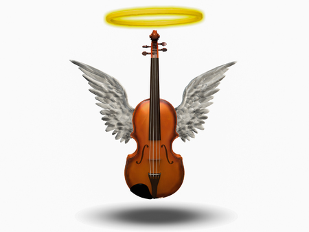 Violin with wings and halo on white background