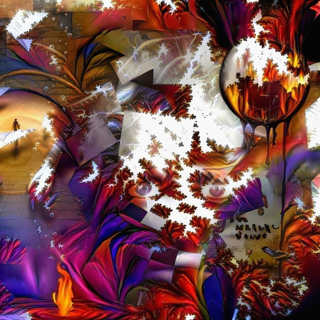 Burning clock and mystic eyes. Colorful illusions. Abstract painting