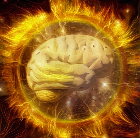 Vivid composition. Power of mind. Human brain radiates electric charges in circle of fire