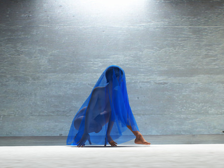 Young woman under blue transparent cloth. 3D rendering