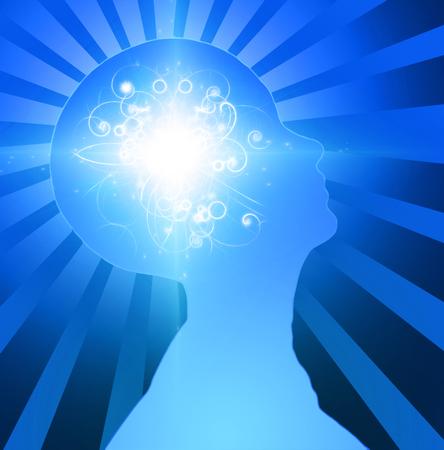 Human Head Radiates Light. Mind Power Stock Photo