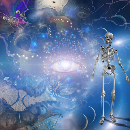 Surreal composition. Melting clocks and eye of God. Skeletons in endless dimensions Stock Photo