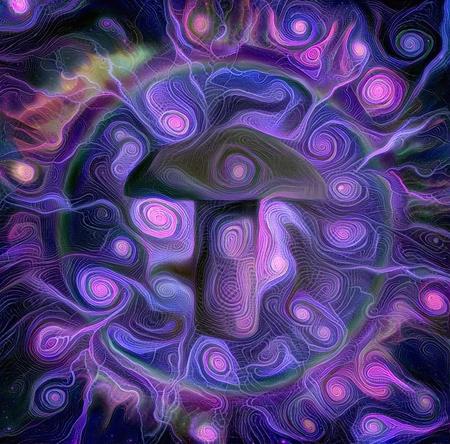 Abstract composition. Purple hallucinogenic mushroom