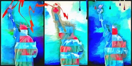 Statue of Liberty. Modern art acrylic painting