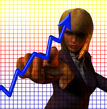 Business woman and financial graphs Stockfoto
