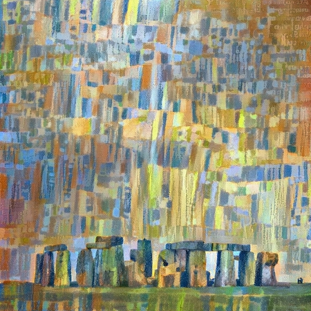Abstract colorful painting. Stonehenge
