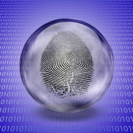 Fingerprint in glass sphere and binary code