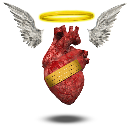 Wounded good heart. Angelic halo and wings