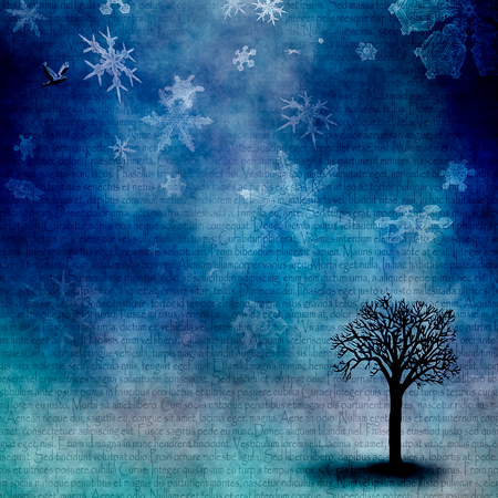 Abstract composition. Winter mood. Snowflakes and leafless tree. Latin text on the background Stok Fotoğraf