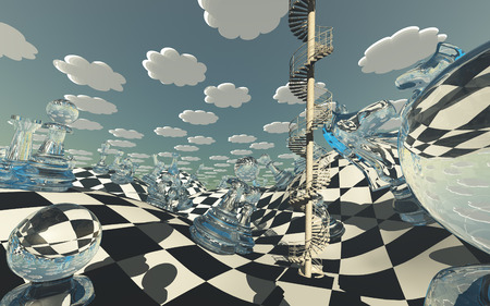 Chessboard Fantasy Landscape with circular staircase winding into sky