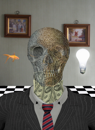Skeleton in suit with dollars around neck. Golden fish and light bulb represents wishes and ideas.