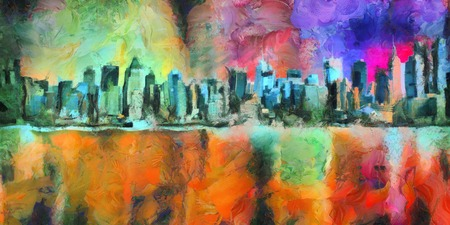 Colorful abstract painting. New York Skyline. Manhattan. 3D rendering Archivio Fotografico