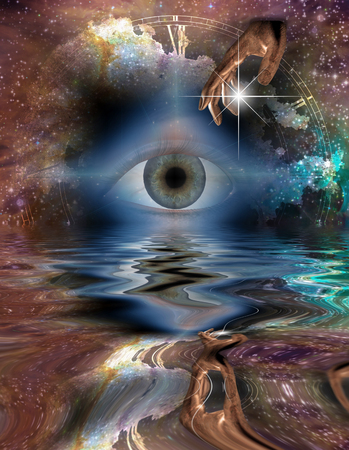 Surreal digital art. Eye and hand of God reflected in water surface.