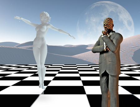 Surreal graceful thoughts. Businessman stands on chessboard. Woman's statue made of white stone. 3D rendering Archivio Fotografico